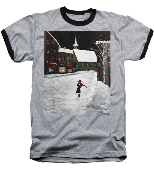 Red Scarf Winter Scene Baseball T-Shirt by Dick Bourgault