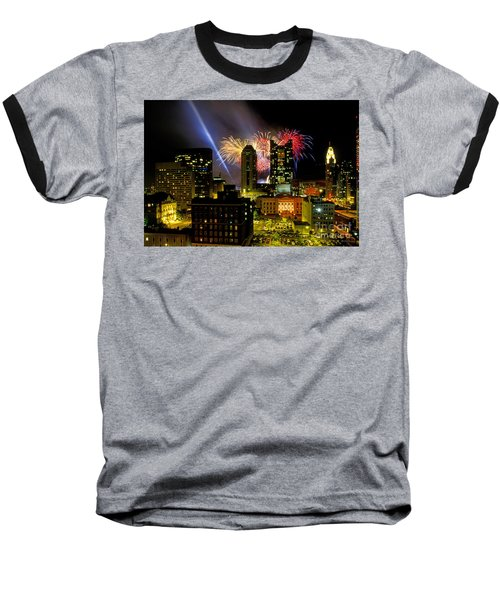 21l334 Red White And Boom Fireworks Display Photo Baseball T-Shirt