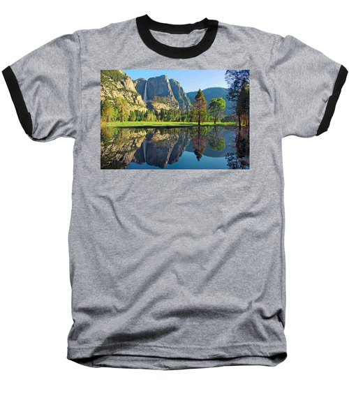 Reflections Of Yosemite Falls Baseball T-Shirt by Lynn Bauer
