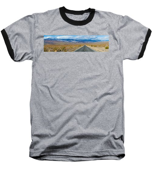 Road Passing Through A Desert, Death Baseball T-Shirt by Panoramic Images