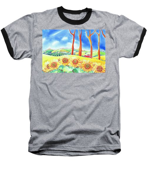 Baseball T-Shirt featuring the painting Route Of Sun Flowers by Hisayo Ohta