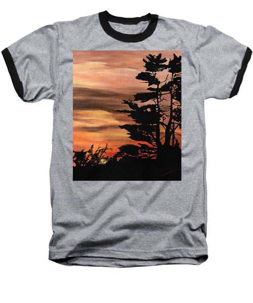 Baseball T-Shirt featuring the painting Silhouette Sunset by Mary Ellen Anderson