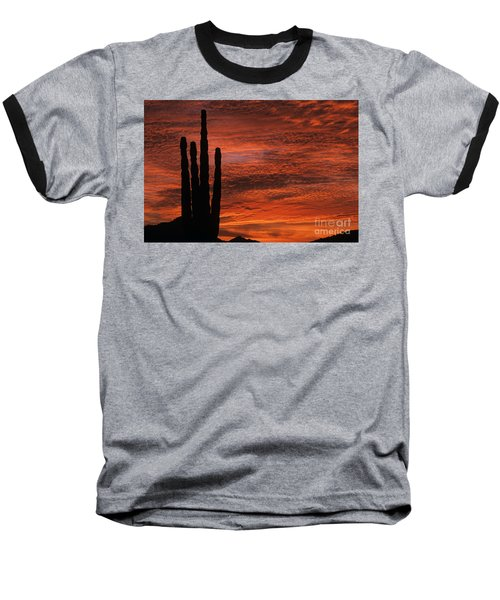 Silhouetted Saguaro Cactus Sunset At Dusk With Dramatic Clouds Baseball T-Shirt