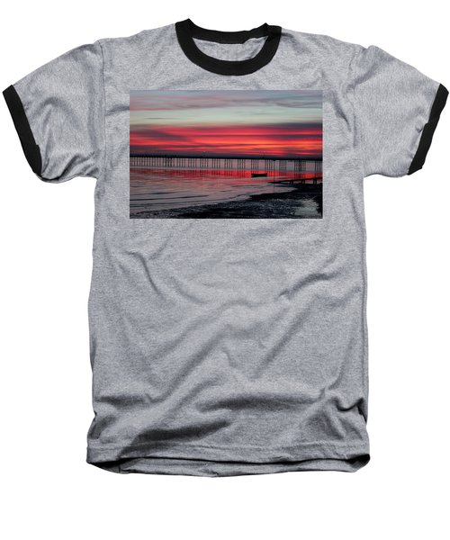 Southend Pier Sunset Baseball T-Shirt