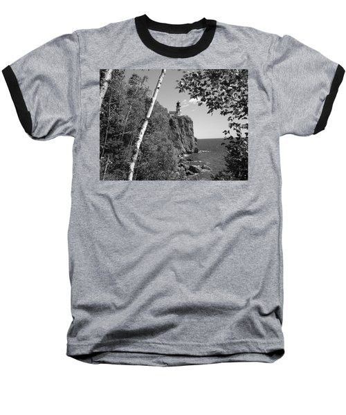 Split Rock Black And White Baseball T-Shirt