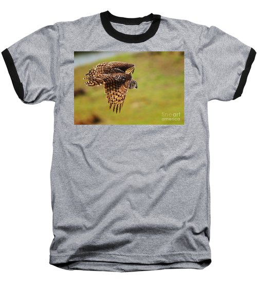Spotted Eagle Owl In Flight Baseball T-Shirt