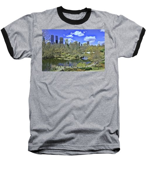 Springtime In Central Park Baseball T-Shirt by Allen Beatty