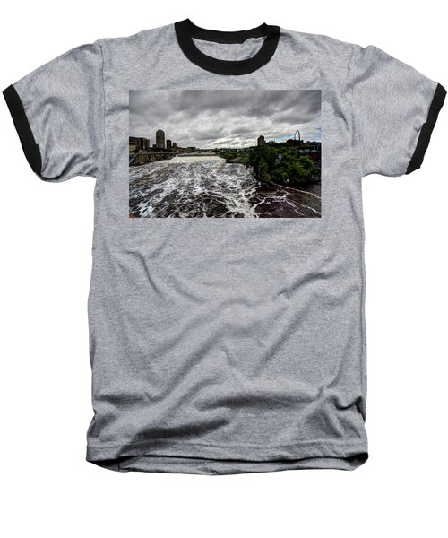 St Anthony Falls Baseball T-Shirt by Amanda Stadther
