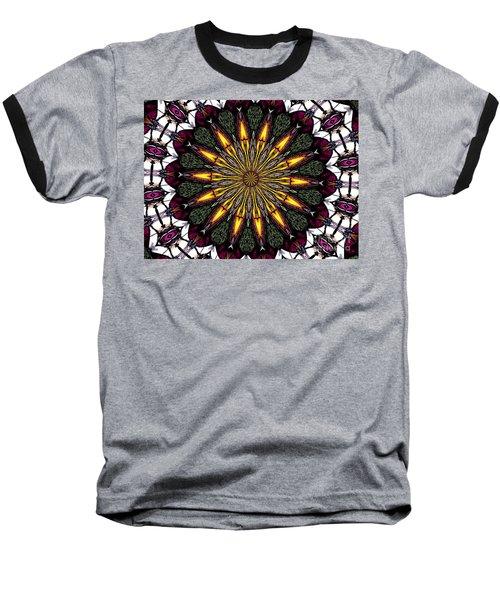 Stained Glass Kaleidoscope 1 Baseball T-Shirt by Rose Santuci-Sofranko