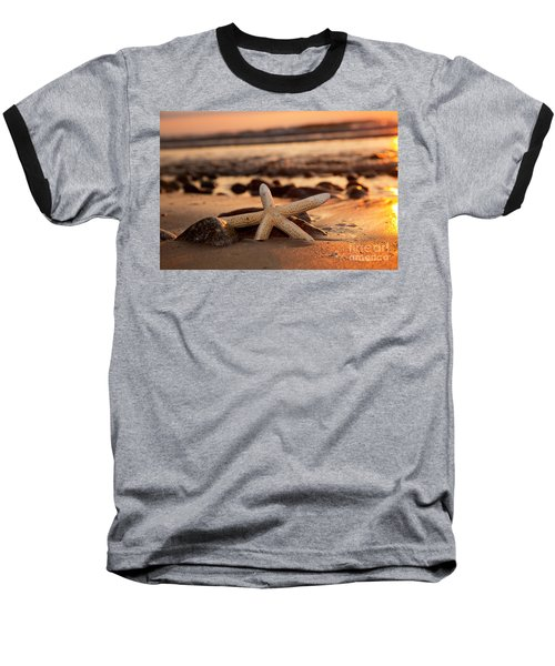 Starfish On The Beach At Sunset Baseball T-Shirt