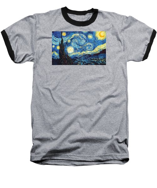 Baseball T-Shirt featuring the painting The Starry Night by Vincent Van Gogh