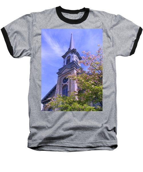 Baseball T-Shirt featuring the photograph Steeple Church Arch Windows 1 by Becky Lupe