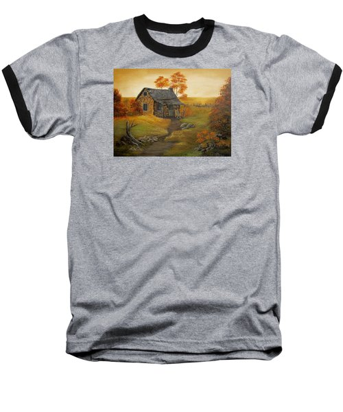 Baseball T-Shirt featuring the painting Stone Cabin by Kathy Sheeran