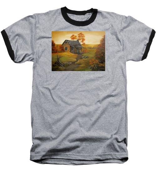 Stone Cabin Baseball T-Shirt by Kathy Sheeran