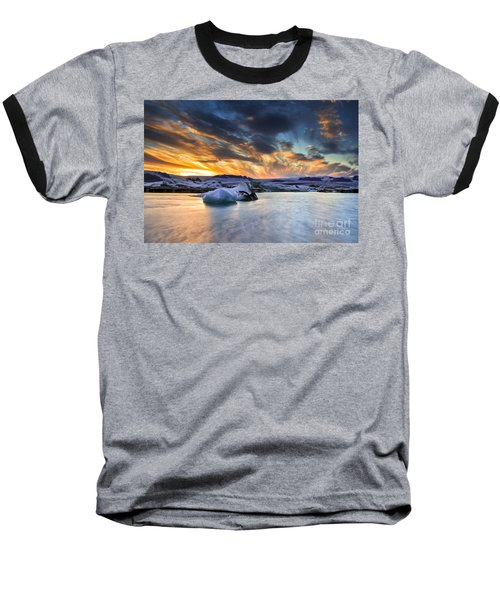 sunset at Jokulsarlon iceland Baseball T-Shirt