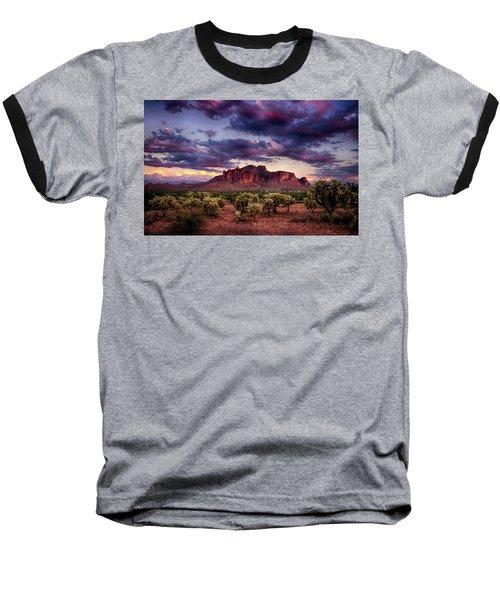 Sunset At The Superstitions  Baseball T-Shirt by Saija  Lehtonen