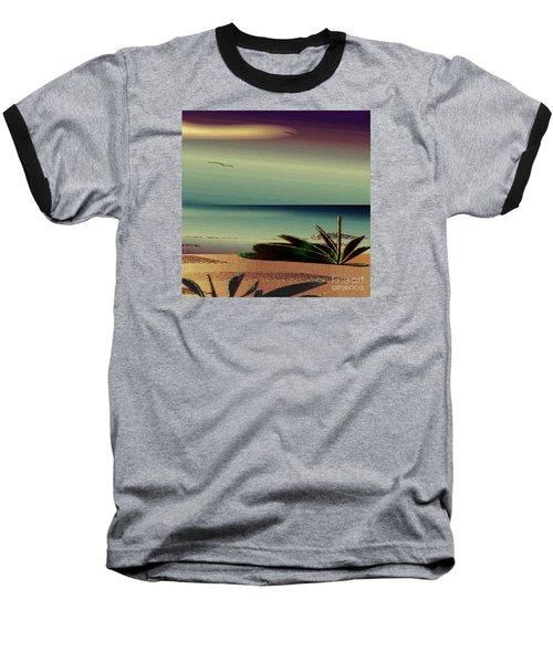 Baseball T-Shirt featuring the drawing Sunset On The Beach by Iris Gelbart