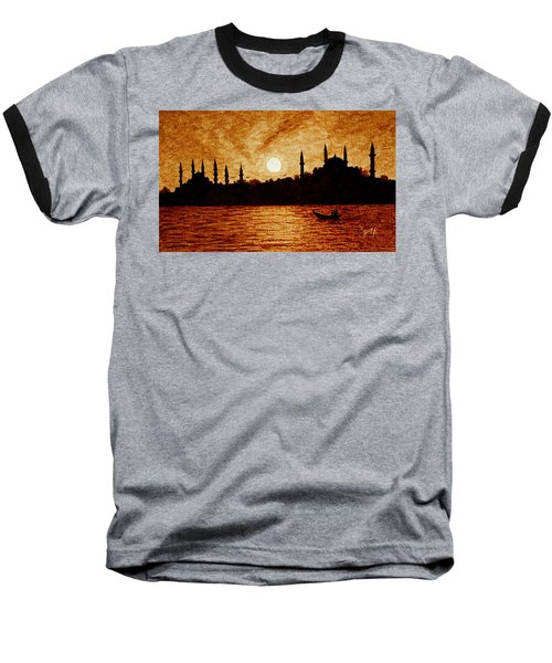Baseball T-Shirt featuring the painting Sunset Over Istanbul Original Coffee Painting by Georgeta  Blanaru