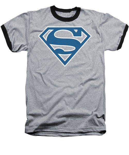 Superman - Blue And White Shield Baseball T-Shirt