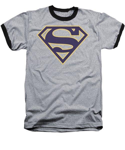 Superman - Navy And Gold Shield Baseball T-Shirt