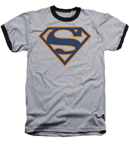 Superman - Navy And Orange Shield Baseball T-Shirt