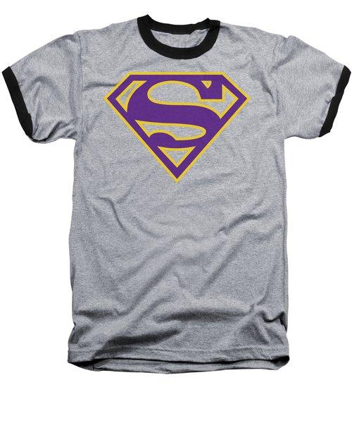Superman - Purple And Gold Shield Baseball T-Shirt