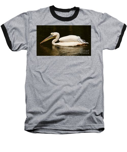 Swimming Pink Pelican Baseball T-Shirt