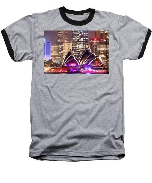 Sydney Skyline At Night With Opera House - Australia Baseball T-Shirt by Matteo Colombo