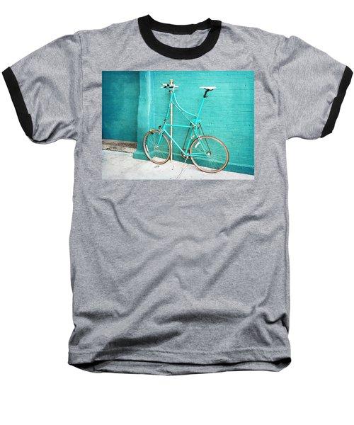 Baseball T-Shirt featuring the photograph Tall Bike On Aqua Blue Green by Brooke T Ryan
