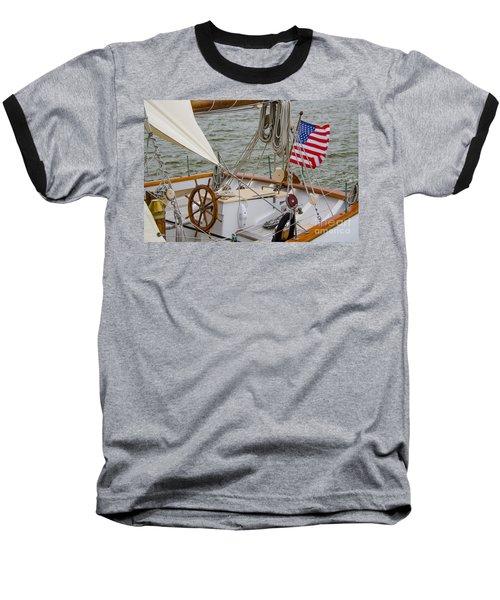 Tall Ship Wheel Baseball T-Shirt by Dale Powell