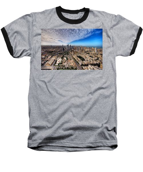 Tel Aviv Skyline Baseball T-Shirt