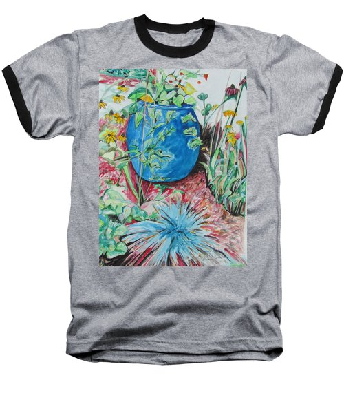 Baseball T-Shirt featuring the painting The Blue Flower Pot by Esther Newman-Cohen