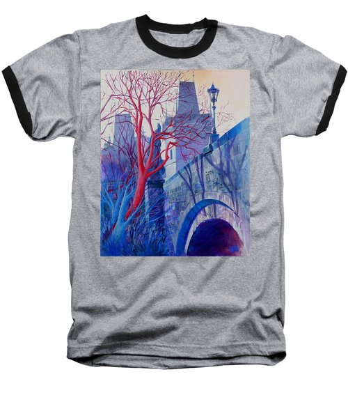 The Charles Bridge Blues Baseball T-Shirt by Marina Gnetetsky