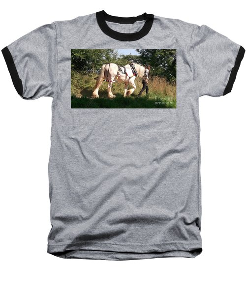 Tiverton Barge Horse Baseball T-Shirt by John Williams