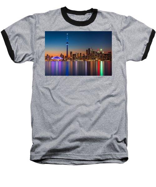 Toronto Skyline At Dusk Baseball T-Shirt