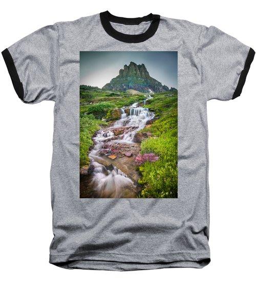 Triple Falls Stream Glacier National Park Baseball T-Shirt