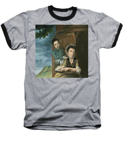 Baseball T-Shirt featuring the painting Vintage Mother And Son by Mary Ellen Anderson