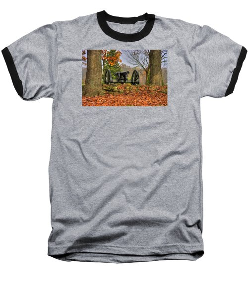 Baseball T-Shirt featuring the photograph War Thunder - The Charlotte North Carolina Artillery Grahams Battery West Confederate Ave Gettysburg by Michael Mazaika