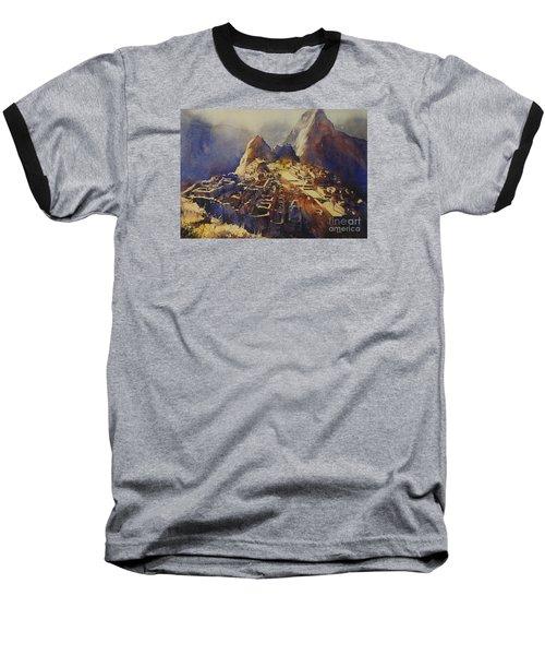 Watercolor Painting Machu Picchu Peru Baseball T-Shirt by Ryan Fox