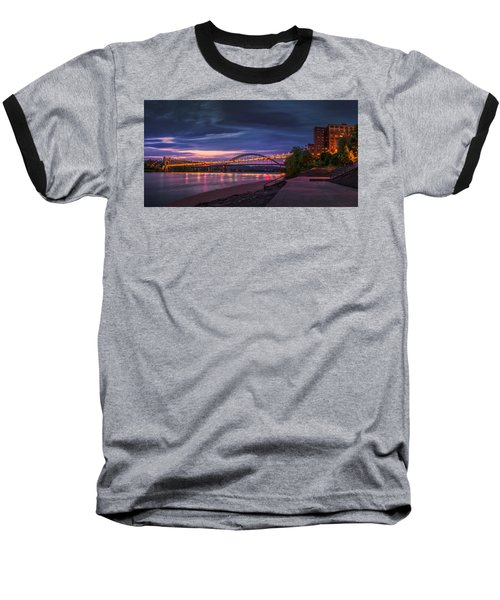 Baseball T-Shirt featuring the photograph Wheeling Suspension Bridge  by Mary Almond