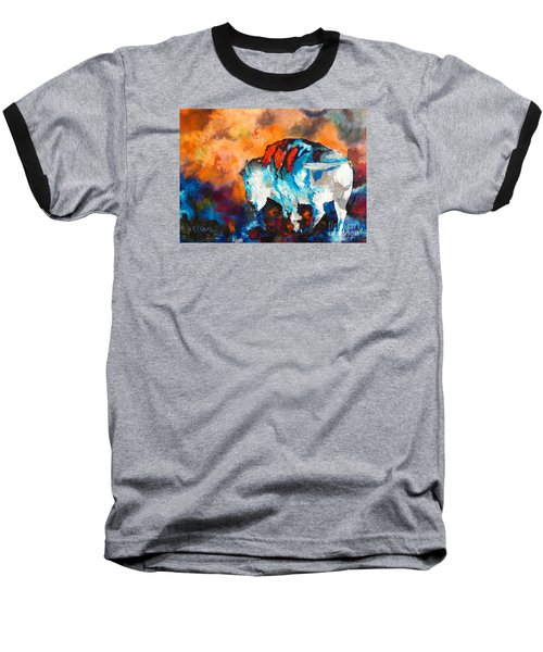 Baseball T-Shirt featuring the painting White Buffalo Ghost by Karen Kennedy Chatham