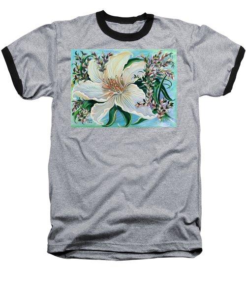 White Lily Baseball T-Shirt by Yolanda Rodriguez