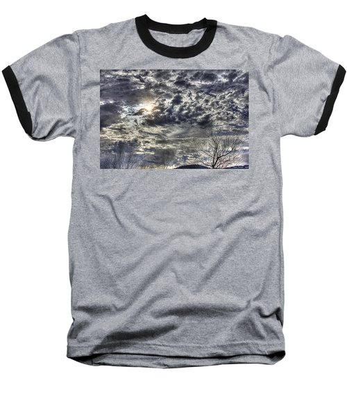 Winter Sky Baseball T-Shirt by Tom Culver