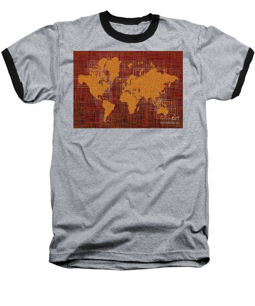 World Map Rettangoli In Orange Red And Brown Baseball T-Shirt by Eleven Corners