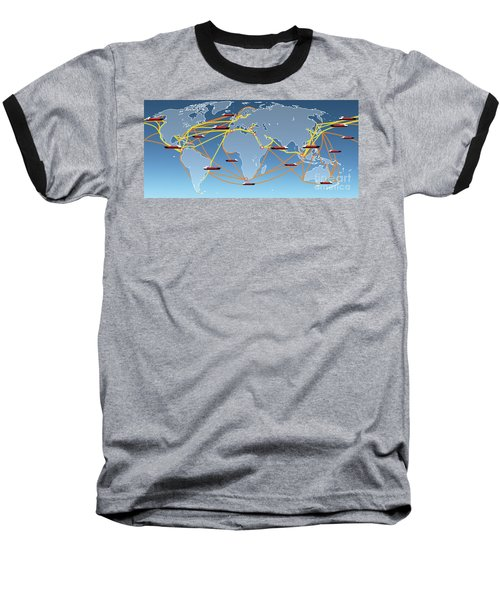 World Shipping Routes Map Baseball T-Shirt