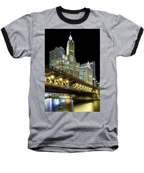 Baseball T-Shirt featuring the photograph Wrigley Building At Night by Sebastian Musial