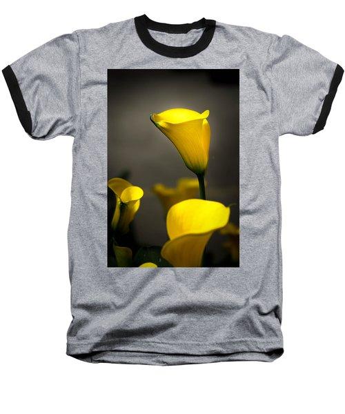 Yellow Calla Lilies Baseball T-Shirt by Menachem Ganon