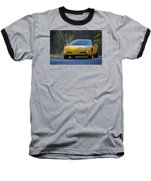 Yellow Corvette Baseball T-Shirt