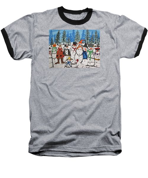 10 Christmas Snowmen  Baseball T-Shirt by Jeffrey Koss