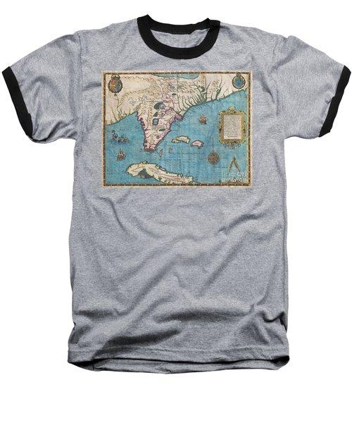 1591 De Bry And Le Moyne Map Of Florida And Cuba Baseball T-Shirt
